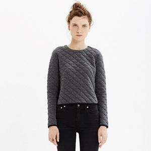 Madewell Grey Quilted Cropped Sweatshirt